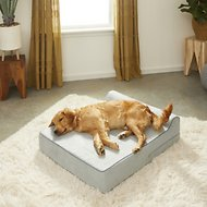 KOPEKS Orthopedic Memory Foam With Pillow Dog Bed, Gray, Large