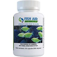 Fish Aid Antibiotics Amoxicillin Capsules Fish Medication, 500-mg, 100 count
