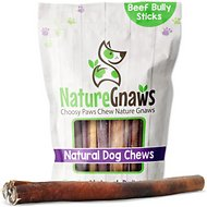 "Nature Gnaws Large Bully Sticks 11 - 12"" Dog Treats, 5 count"