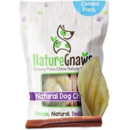Nature Gnaws Cow Ear & Bully Stick Combo Dog Treats, 6 count