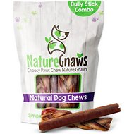 Nature Gnaws Bully Stick & Braided Bully Stick Combo Dog Treats, 6 count
