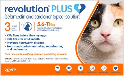 Revolution Plus Topical Solution For Cats 5 6 11 Lbs 3 Treatment Orange Box Chewy Com