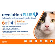 Revolution Plus Topical Solution for Cats, 5.6-11 lbs, 6 treatment (Orange Box)