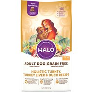 Halo Holistic Turkey, Turkey Liver & Duck Recipe Grain-Free Healthy Weight Adult Dry Dog Food, 21-lb bag