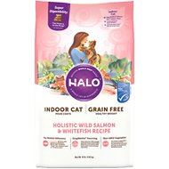Halo Holistic Wild Salmon & Whitefish Recipe Grain-Free Healthy Weight Indoor Cat Dry Cat Food, 10-lb bag