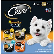 Cesar Breakfast & Dinner Home Delights & Classic Loaf in Sauce Variety Pack Wet Dog Food Trays, 3.5-oz, case of 24