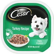 Cesar Turkey Recipe Filets in Gravy Wet Dog Food Trays, 3.5-oz, case of 24