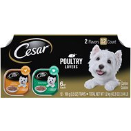 Cesar Poultry Lovers Turkey & Chicken Filets in Gravy Multipack Wet Dog Food Trays, 3.5-oz, case of 12