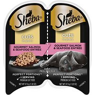 Sheba Perfect Portions Gourmet Salmon & Seafood Entree in Gravy Wet Cat Food Trays, 2.6-oz, case of 24 twin-packs