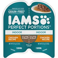 Iams Perfect Portions Indoor Chicken Recipe Grain-Free Cuts in Gravy Wet Cat Food Trays, 2.6-oz, case of 24 twin-packs