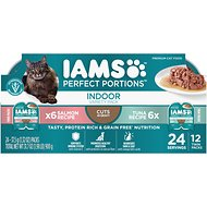Iams Perfect Portions Indoor Tuna & Salmon Recipe Grain-Free Cuts in Gravy Multipack Wet Cat Food Trays, 2.6-oz, case of 12 twin-packs