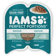 Iams Perfect Portions Indoor Tuna Recipe Grain-Free Cuts in Gravy Wet Cat Food Trays, 2.6-oz, case of 24 twin-packs