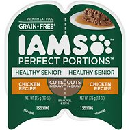 Iams Perfect Portions Healthy Senior Chicken Recipe Grain-Free Cuts in Gravy Wet Cat Food Trays, 2.6-oz, case of 24 twin-packs