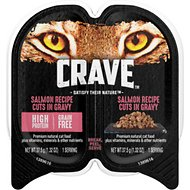 Crave Salmon Recipe Grain-Free Cuts in Gravy Adult Wet Cat Food Trays, 2.6-oz, case of 24 twin-packs