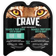Crave Salmon & Trout Recipe Grain-Free Cuts in Gravy Adult Wet Cat Food Trays, 2.6-oz, case of 24 twin-packs