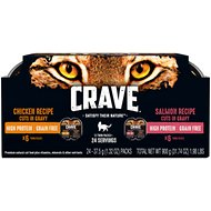 Crave Chicken & Salmon Recipes Grain-Free  Cuts in Gravy Multipack Adult Wet Cat Food Trays, 2.6-oz, case of 12 twin-packs