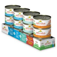 Almo Nature Atlantic Tuna, Mackerel, Chicken & Shrimp, Trout & Tuna Variety Pack Canned Cat Food, 2.47-oz, case of 12