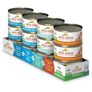 Almo Nature HQS Natural Atlantic Tuna, Mackerel, Chicken & Shrimp, Trout & Tuna Variety Pack Canned Cat Food, 2.47-oz, case of 12