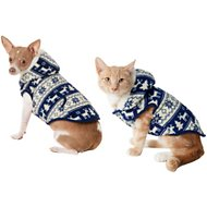Frisco Dog & Cat Fair Isle Fleece Lined Hoodie, Small, Navy