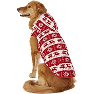 Frisco Dog & Cat Fair Isle Fleece Lined Hoodie, X-Large, Red