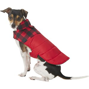 Frisco Boulder Plaid Insulated Dog & Cat Puffer Coat, Red, Small