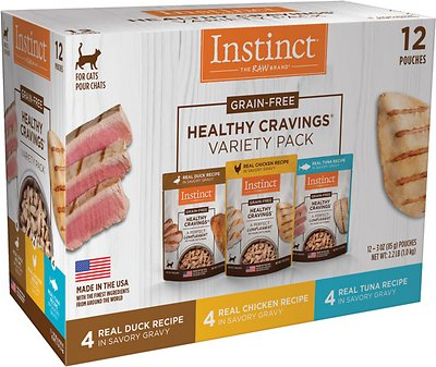 Instinct Healthy Cravings Grain Free Cuts Gravy Recipe Variety Pack Wet Cat Food Topper 3 Oz Pouch Case Of 12 Chewy Com