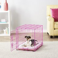 Frisco Fold & Carry Single Door Collapsible Wire Dog Crate, Pink, 24 inch
