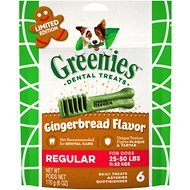 Greenies Seasonal Gingerbread Flavor Dental Dog Treats, Regular, 6 count