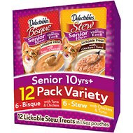 Hartz Delectables Senior 10+ Stew & Bisque Variety Pack Lickable Cat Treats, case of 12