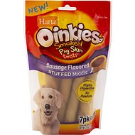 Hartz Oinkies Smoked Pig Skin Twists Sausage Flavored Stuffed Dog Treats, 7 count