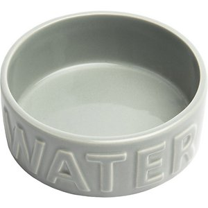 """Park Life Designs Classic Water Pet Bowl, Grey; Who said your pet's accessories have to be boring? With Park Life Designs Classic Water Pet Bowl, you can add character to your home and show off your pet's unique paw-sonality at the same time! This pet bowl is designed from heavyweight, FDA-approved ceramic that's durable and chew-proof. It comes in grey or blue and has """"Water"""" embossed in bold, block letters for a tasteful touch. The stoneware is 100% microwave- and dishwasher-safe so you can wash it with ease! This water bowl is available in blue or grey, so you can find the color that best suits your style."""