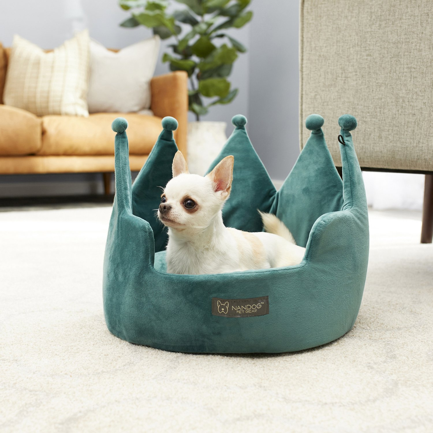 Admirable Nandog Crown Small Dog Cat Bed Teal Inzonedesignstudio Interior Chair Design Inzonedesignstudiocom