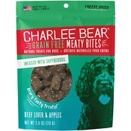 Charlee Bear Meaty Bites Beef Liver & Apples Grain-Free Freeze-Dried Dog Treats, 2.5-oz bag