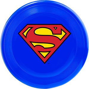 Buckle-Down Superman Flying Disc Dog Toy; Watch your pup soar through the air like Superman as he catches this Buckle-Down Superman Shield Disc Dog Toy! This disc is made with non-abrasive plastic that's gentle on your pup's gums and teeth. It comes in a bright blue color and features Superman's signature symbol on the front for everyone to see. This toy is paw-fect for a game of toss and fetch or catch! So, when your little superhero isn't roaming the streets fighting crime, he'll be happy at home or at the park playing with his new Buckle-Down Superman Shield Disc Dog Toy!