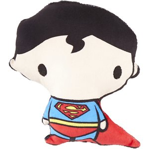 Buckle-Down Chibi Superman Squeaky Plush Dog Toy ; Your furry friend will be the toast of Metropolis with this Chibi Superman Squeaky Plush Dog Toy from Buckle-Down. This chew toy features the Man of Steel and is made of durable, high-quality non-abrasive felt that won\\\'t wear down your pup's teeth. It is filled with quality poly-fill and also includes a squeaker to keep your paw-tner occupied. Whether he is hanging out at Fortress of Solitude or flying through the air, your little superhero will never be alone with Buckle-Down Chibi Superman Squeaky Plush Dog Toy.
