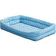 MidWest Quiet Time Fashion Plush Double Bolster Pet Bed & Crate Mat, Powder Blue, 24-in