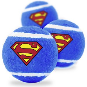 Buckle-Down Superman Squeaky Tennis Ball Dog Toy, 3-Pack; Show your furry friend some fun on the streets of Metropolis with this Superman Squeaky Tennis Ball Dog Toy from Buckle-Down. This three-set of tennis balls features the Man of Steel logo and is made of durable, high-quality non-abrasive felt that won\\\'t wear down your pup's teeth. Perfect for a game of toss and fetch, it also includes a squeaker to keep your paw-tner occupied. Whether he is hanging out at Fortress of Solitude or chasing down criminals, your little superhero will love to play with Buckle-Down Superman Squeaky Tennis Ball Dog Toy.