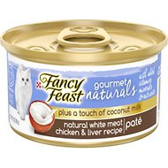 Fancy Feast Gourmet Naturals White Meat Chicken & Liver Recipe Plus Coconut Milk Pate Grain-Free Canned Cat Food, 3-oz, case of 24