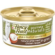 Fancy Feast Gourmet Naturals White Meat Chicken Recipe Plus Coconut Milk Pate Grain-Free Canned Cat Food, 3-oz, case of 24