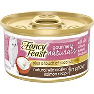 Fancy Feast Gourmet Naturals Wild Alaskan Salmon Recipe Plus Coconut Milk Grilled Chunks in Gravy Grain-Free Canned Cat Food, 3-oz, case of 24