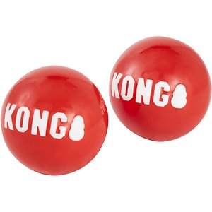 """KONG Signature Balls Dog Toy, 2-pack, Red, Large; Your canine companion is going to have a """"fetching"""" good time playing with these KONG Signature Balls! Designed with extra durability and a boisterous bounce, these toys are paw-sitively perfect for an exciting game of toss and fetch. Every purchase comes with two squeaker balls that feature a vibrant red color and bright white """"KONG"""" logo, so your dog can easily spot them during outdoor play sessions. KONG Signature Balls are a great way to satisfy your dog's chasing and retrieving instincts!"""