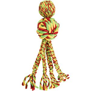KONG Wubba Weaves with Rope Dog Toy, Color Varies, Small; Roping your dog into a game of tug-o-war will be easy with KONG's Wubba Weaves Rope Dog Toy! This tempting toy of twists and knots is crafted with woven rope to help satisfy your sidekick's chewing instincts while promoting healthy teeth and gums. It has four long tails that are great for tugging with multiple paw-tners and they add excitement to thrashing! Unlike other rope toys, this one also has a squeaker inside for an added element of fun and surprise. KONG's Wubba Weaves Rope Dog Toy is great for both indoor and outdoor play sessions, so your dog can enjoy his new toy, whatever the weather!