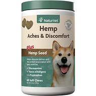 NaturVet Hemp Aches & Discomfort Plus Hemp Seed Dog Soft Chews, 60 count