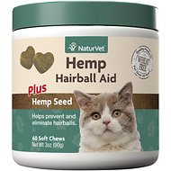 NaturVet Hemp Hairball Aid Plus Hemp Seed Cat Soft Chews, 60 count