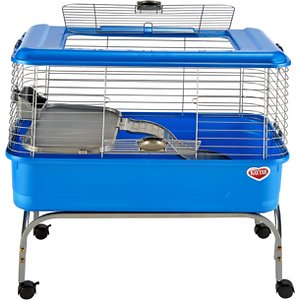 Kaytee Large Guinea Pig Habitat; Give your guinea pig a comfortable place to eat, sleep and exercise with Kaytee's Large Guinea Pig Habitat! This large living space features rounded corners to make cleaning easy for you, a top door that fully opens, a spring-loaded door that locks and a deep base to help keep litter and bedding where it belongs—in your furry friend's cage! It comes with a mobile stand with locking casters for easy transport, a wavy ramp for added fun, an elite comfort shelf for resting, and a locking food dish to help keep his meal in one place as he munches!