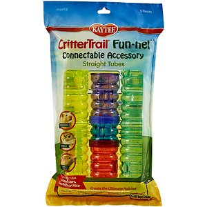 Kaytee CritterTrail Fun-nel Connectable Accessory, 5 count; Provide your little guy with more room to roam in his Critter Trail Habitat by adding Katee's CritterTrail Fun-nels Tubes Accessories! This variety pack comes with five bubble-wave tube designs with comfort grips that are safe for your pet's paws. It also comes with connector rings to help you safely build secure passageways for your sidekick. The tubes come in a variety of colors and sizes, allowing you to get creative while making a fun playground for your furry family member!