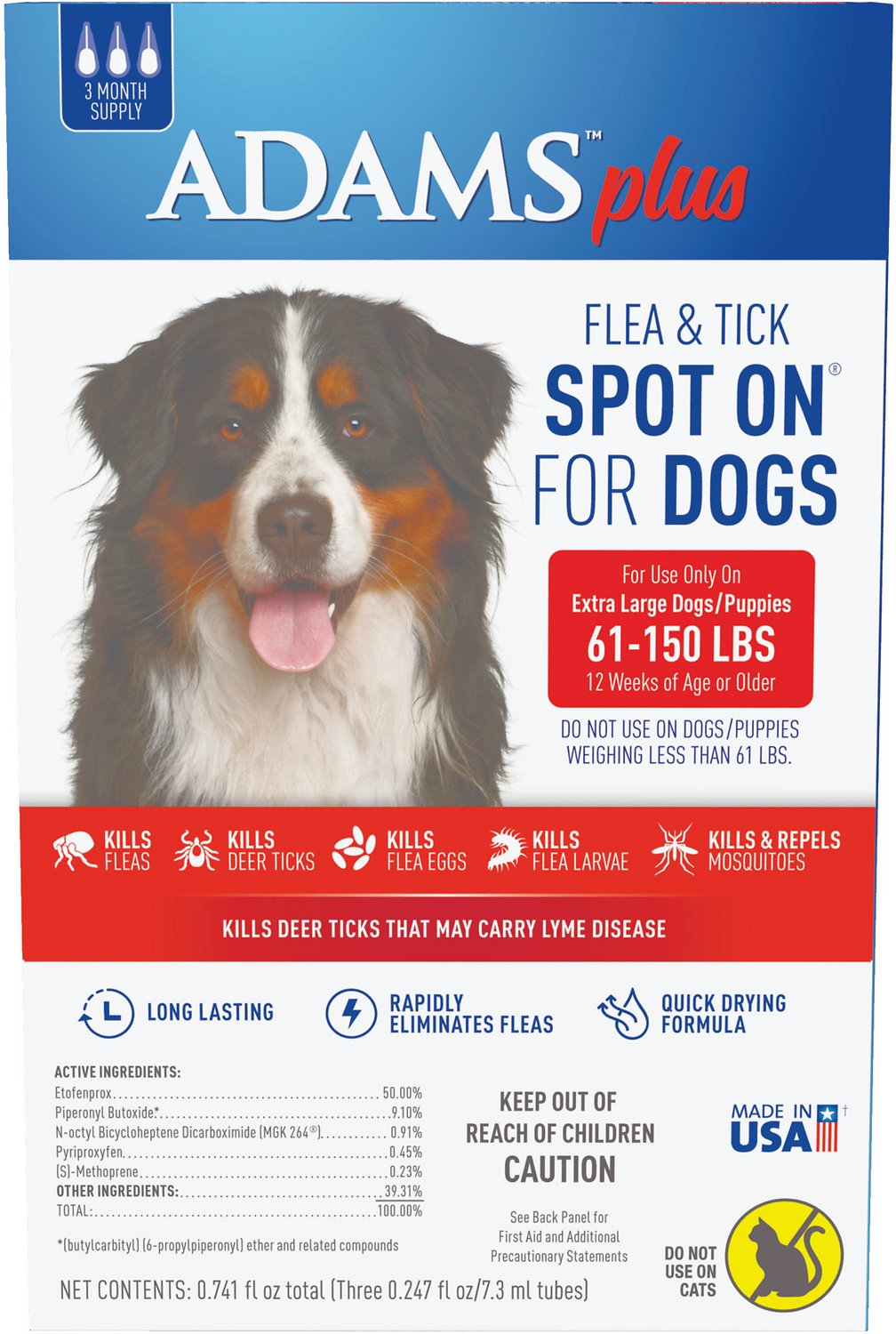 Adams Plus Flea & Tick Spot On for Extra Large Dogs (61-150-lbs), 3  treatments