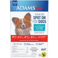 Adams Plus Flea & Tick Spot On for Small Dogs (5-14 lbs), 3 treatments