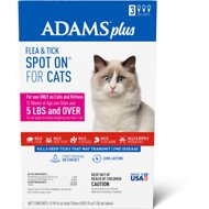 Adams Plus Flea & Tick Spot On for Cats and Kittens (5-lbs & Over), 3 treatments