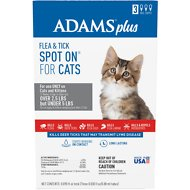 Adams Plus Flea & Tick Spot On for Cats and Kittens (Greater than 5-lbs), 3 treatments